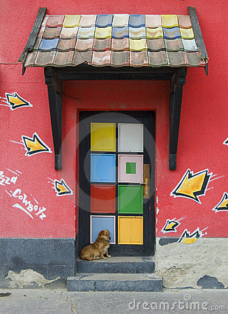 Colorful door of the house
