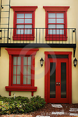 Colorful door with windows