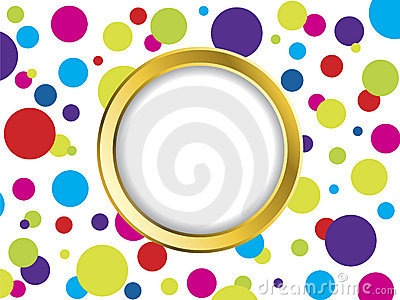 Colorful dotted backdrop with golden ring