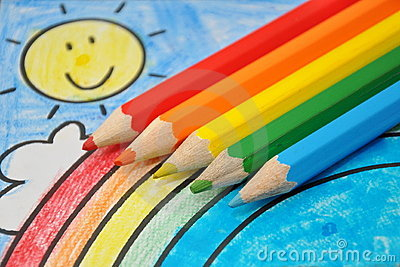 Colorful Drawing Smiling Sun Rainbow Blue Sky Royalty
