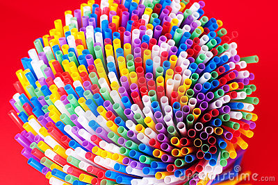 Colorful drinking straws background