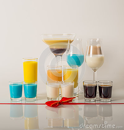 Free Colorful Drinks Based On Milk Liqueurs, Unique Pastel Colors Of Royalty Free Stock Image - 90367616