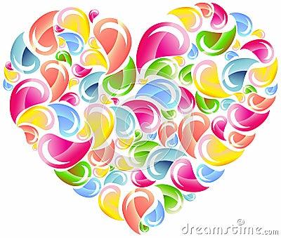 Colorful drops splashing heart
