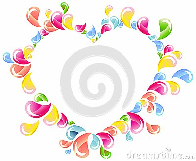 Colorful drops splashing heart frame