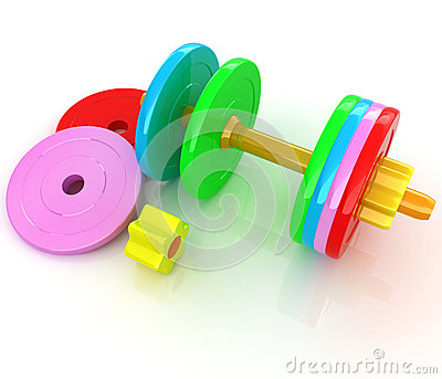 Colorful dumbbells are assembly and disassembly