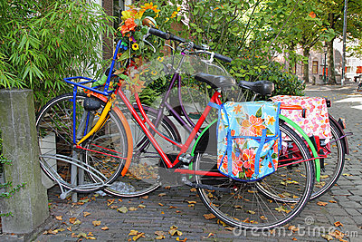 Colorful Dutch bicycles