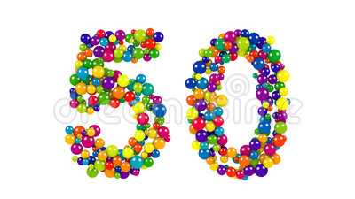Colorful dynamic number 50 for a golden jubilee. Celebration or festive event formed of small multicolored balls in the colors of the rainbow isolated on white royalty free illustration