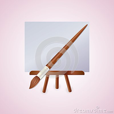 Colorful easel with brush