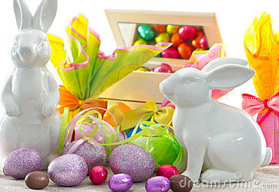 Colorful easter decoration. eggs and bunnies