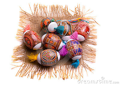 Colorful Easter egg on the napkin, isolated