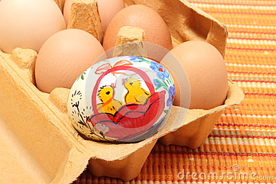 Colorful Easter eggs in carton package