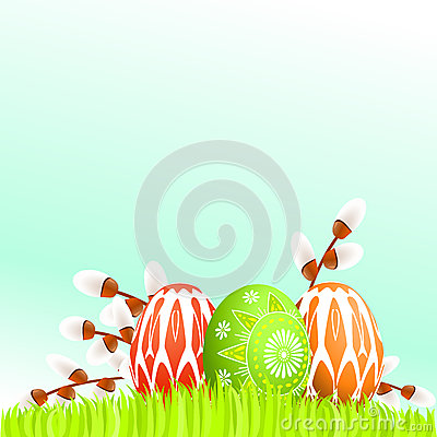 Colorful Easter eggs on grass