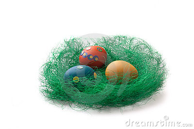 Colorful Easter Eggs in a green grass nest
