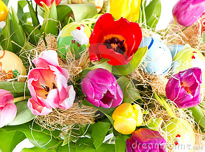 Colorful easter eggs with tulips
