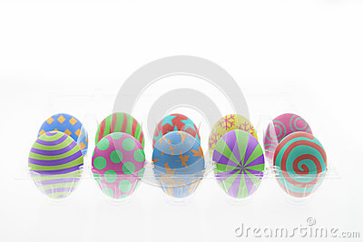 Colorful easter eggs on white isolated