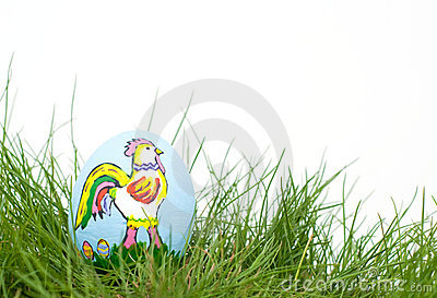 Colorful Easter Rooster hand painted on an egg she