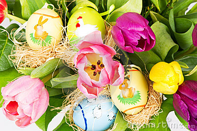 Colorful easter tulip flowers bouquet