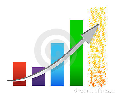 Colorful economic recovery graph illustration