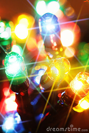 Colorful electric light bulbs