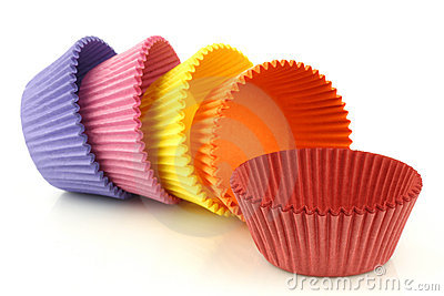 Colorful empty muffin cups