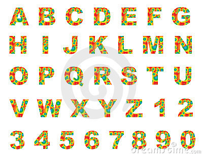 Colorful english letters a to z