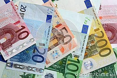 Colorful euro banknotes, close-up