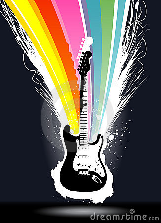 Colorful explosion guitar vector
