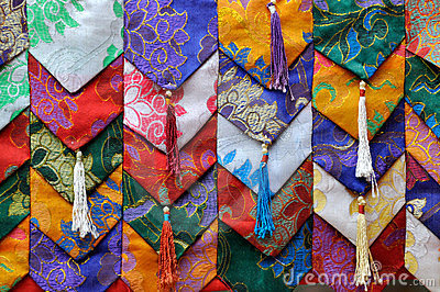 Colorful fabric decoration in Tibet style