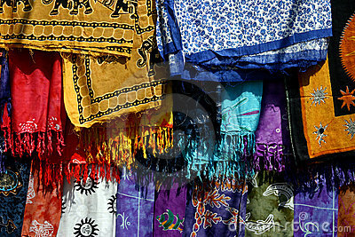 Colorful fabrics in India