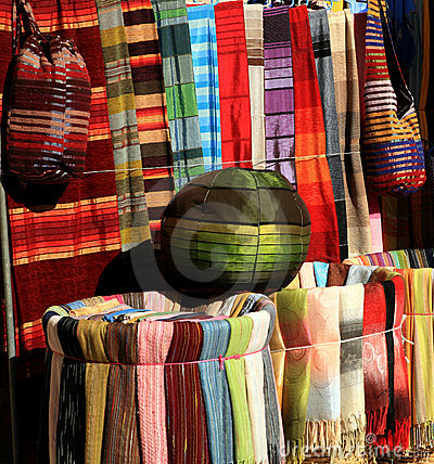 Colorful fabrics for sale in Morocco