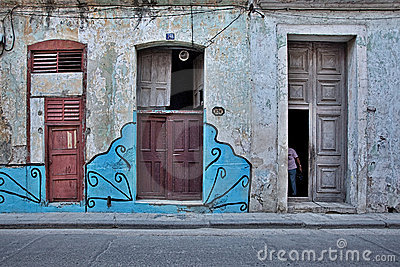 Colorful facade of the old Havana Cuba