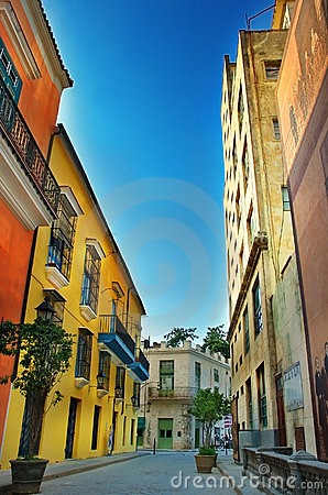Colorful facades of Havana city