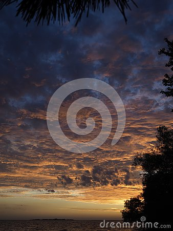 Colorful Fall Sunset Stock Photo