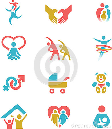 Family and Health Icon Set Vector Illustration
