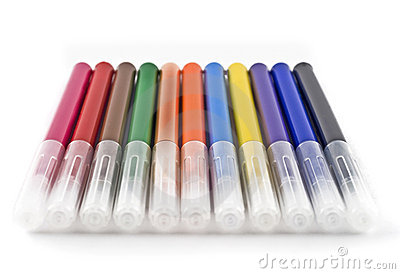 Colorful felt-tip markers (pen) over white