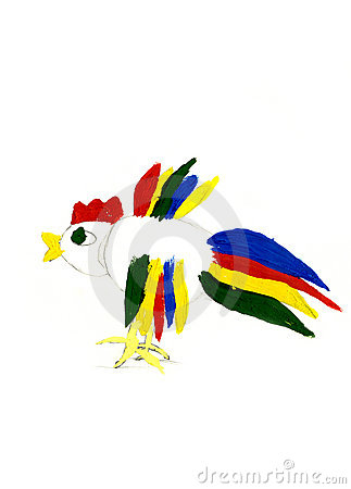 Colorful fighting cock - kid s illustration