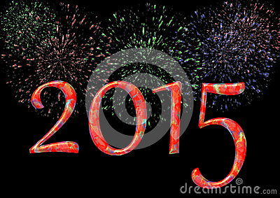 Colorful 2015 with firework