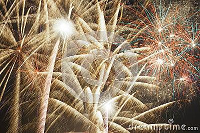 Colorful firework streaks