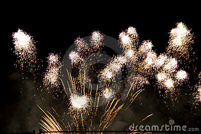 Colorful fireworks over a night sky