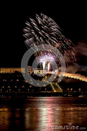 Colorful Fireworks over river
