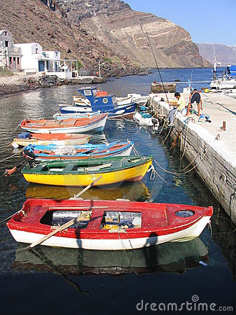 Colorful fishing boats, Santorini, Greece