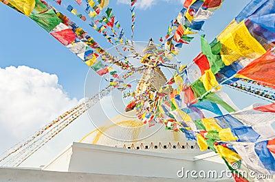 Colorful flags Boudhanath temple stupa Kathmandu