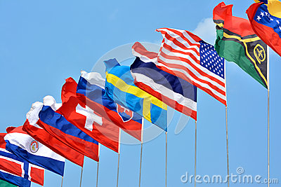 Colorful flags from different countries