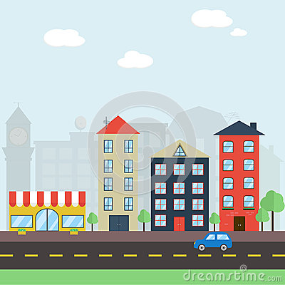 Free Colorful Flat Cityscape Royalty Free Stock Photos - 51501998