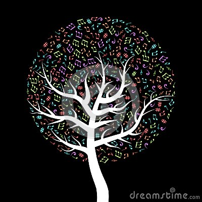 Colorful, flat musical tree. White tree with leaves made up of musical notes Vector Illustration