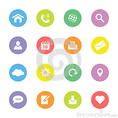 Free Colorful Flat Web And Technology Icon Set On Circle Royalty Free Stock Photo - 66465675