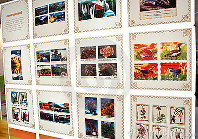 Colorful flora & fauna commemorated in stamps Editorial Stock Image