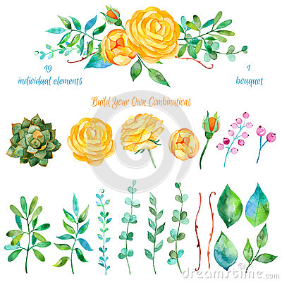 Free Colorful Floral Collection With Flowers + 1 Beautiful Bouquet. Set Of Floral Elements For Your Compositions. Royalty Free Stock Images - 55061059