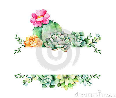 Colorful floral frame with leaves,succulent plant,branches and cactus. Stock Photo