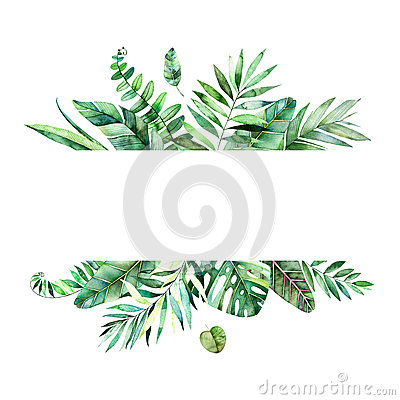 Free Colorful Floral Frame With Colorful Tropical Leaves. Stock Photos - 90117733